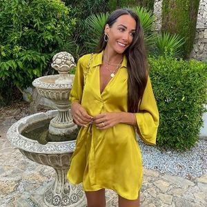 NWT ZARA | Belted Satin Effect Tunic Dress Mustard